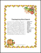 Thanksgiving Leaves Word Search