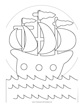 Thanksgiving Mayflower Coloring Page