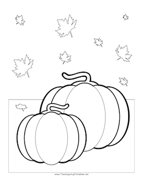 Thanksgiving Pumpkin Leaves Coloring