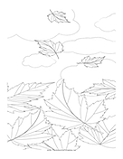 Leaves Falling2 Coloring Page
