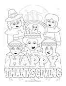 Pilgrims Indians Coloring Page